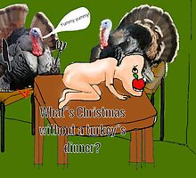 turkeys eating humans for christmas dinner by jasmine disdale