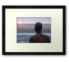 Gormley Sculpture @ Another Place II - Crosby Beach, Liverpool UK Framed Print