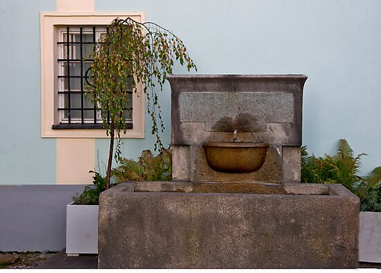 Old Stone Fountain by phil decocco