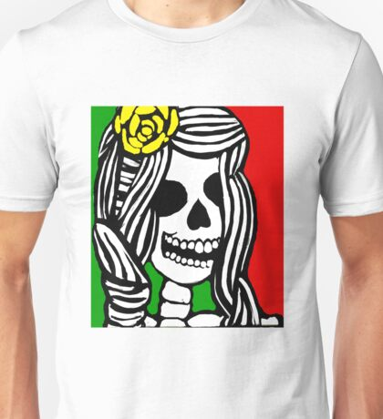 Rasta skeleton girl. Unisex T-Shirt