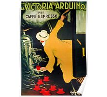 Retro vintage Italian coffee machine advertising Poster