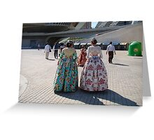 'Ladies in Procession' Valencia, Spain Greeting Card