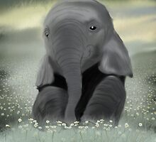 Baby Elephant in Daisy Field by Andrew Perry