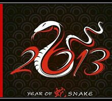Snake Red Brocade New Year by CatalystBC