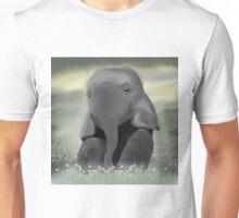 Baby Elephant in Daisy Field Unisex T-Shirt