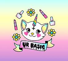 Cute Kitty Unicorn Thinks UR Basic by Amy Grace