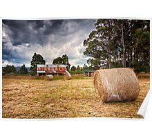 Hay Bales, Cradoc, Tasmania Poster