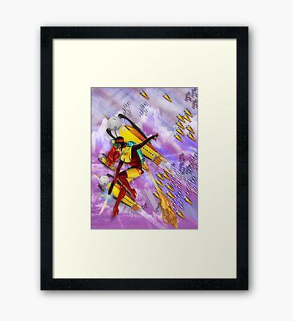 space ship invasion zapgun jetgirl Framed Print