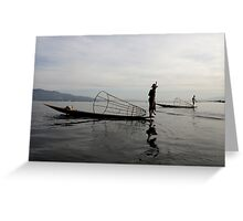 Fisherman on lake Inle, Burma/ Myanmar Greeting Card