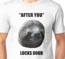 Evil Sloth Locks Door Unisex T-Shirt