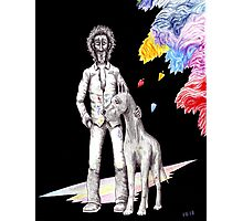 Artist and Dog pen ink and colored pencils drawing Photographic Print