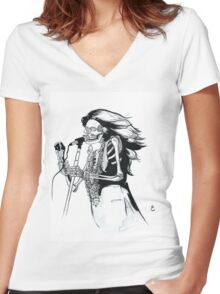 Ghost of Janis Joplin Women's Fitted V-Neck T-Shirt
