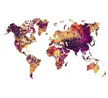 World Map purple Photographic Print