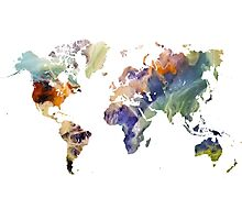 World Map watercolor painting Photographic Print
