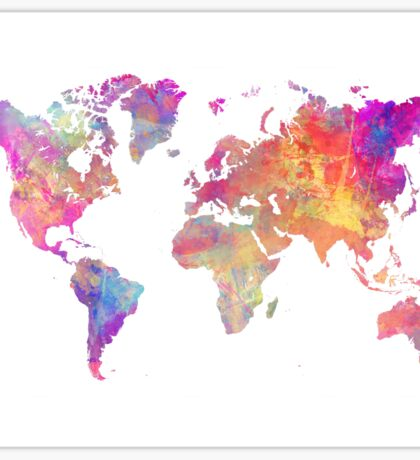World Map Violet Sticker