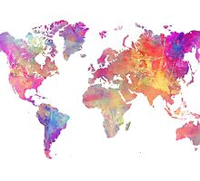 World Map Violet by JBJart