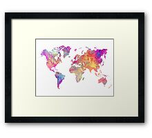 World Map Violet Framed Print
