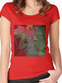 Deep Carmine Pink Abstract Low Polygon Background Women's Fitted Scoop T-Shirt