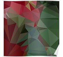 Deep Carmine Pink Abstract Low Polygon Background Poster