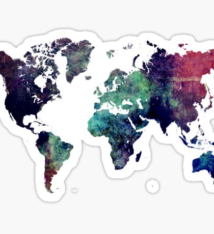 Map world art after Ice age Sticker