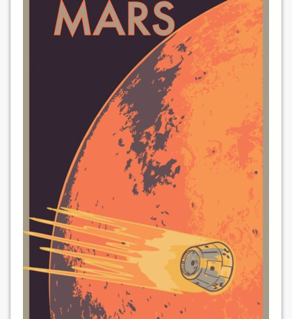 Explore Mars Travel Poster Sticker