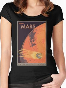 Explore Mars Travel Poster Women's Fitted Scoop T-Shirt