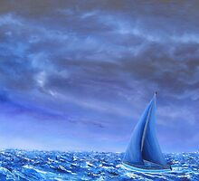 """Rider from the Storm"" Image of an Oil Painting)  by LBMcNicoll"