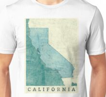California Map Blue Vintage Unisex T-Shirt