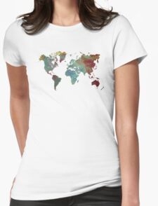 World Map after dark Womens Fitted T-Shirt