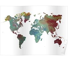World Map after dark Poster