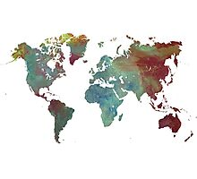World Map after dark Photographic Print
