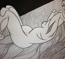 woman reclining on bed by Ronan Crowley
