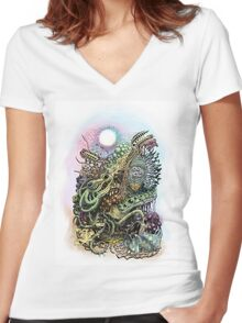 Cuttlefish memories surreal abstraction Women's Fitted V-Neck T-Shirt