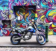 Hosier Lane Graffiti and motor bike by Roz McQuillan
