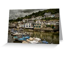 Moody Sky at Polperro Harbour Greeting Card