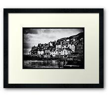 Retro Whitby b/w Framed Print