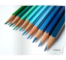 Caran D'Ache Colored Pencils In Different Shades Of Blue And Green Poster