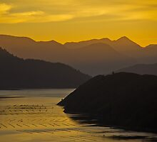 Sunset hills and water reflection, Marlborough Sounds by trevallyphotos