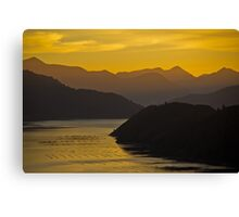 Sunset hills and water reflection, Marlborough Sounds Canvas Print