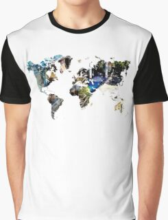 Map of the world blue watercolor Graphic T-Shirt