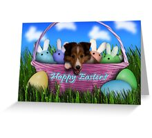Easter Sheltie Puppy Greeting Card