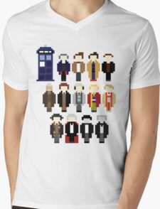 Pixel Doctor Who Regenerations Mens V-Neck T-Shirt