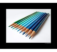 Caran D'Ache Colored Pencils In Different Shades Of Blue And Green - Swiss Made Photographic Print