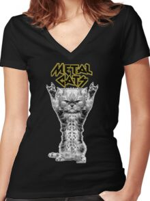metal cats Women's Fitted V-Neck T-Shirt