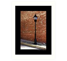 Antique Street Light Against Red Brick Wall - West Main Street, Riverhead New York Art Print
