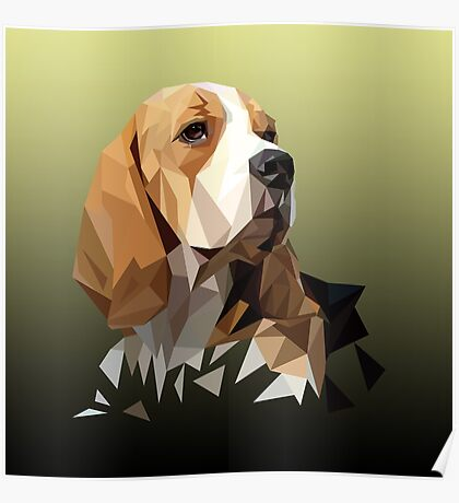 Beagle Hunting Dog Head Poster