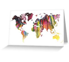 World Map colored Greeting Card