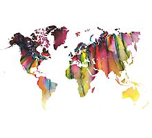 World Map colored Photographic Print