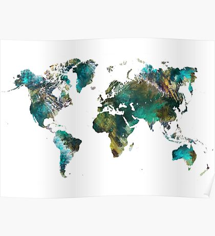World Map tree Poster