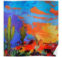 Saguaros Land Sunset - Square version Poster